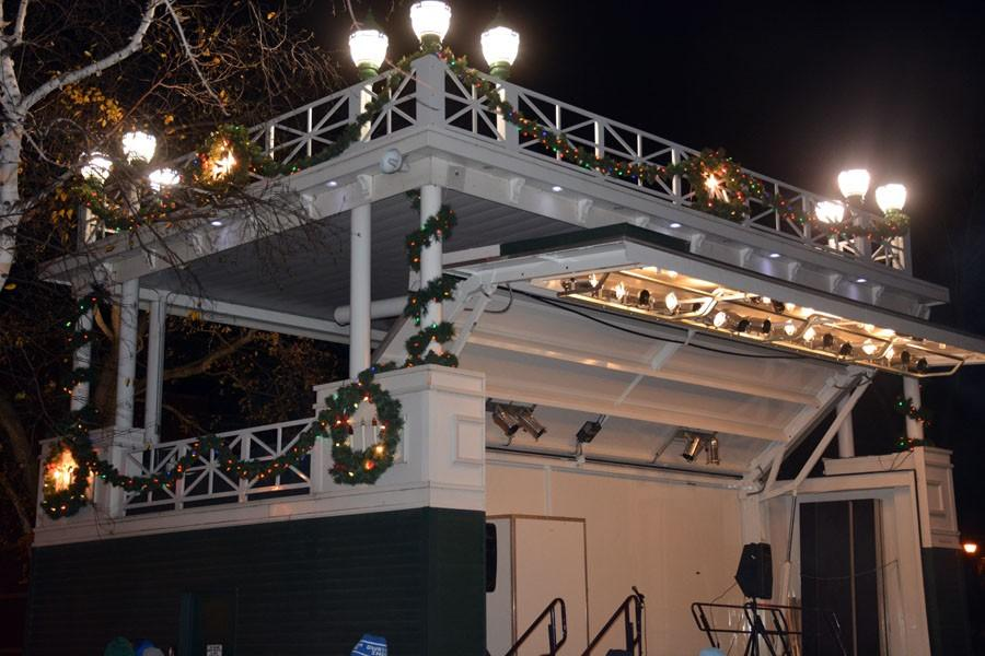 Central Park Band Shell covered in holiday decorations
