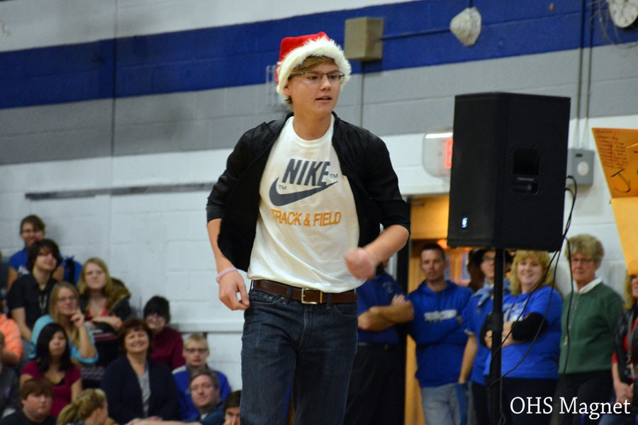 Sophomore Scott Kingland performing a skit during the pepfest