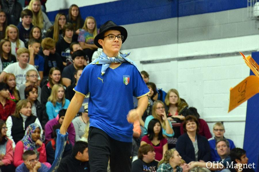 Sophomore Brandon Guenther performing a skit during the pepfest