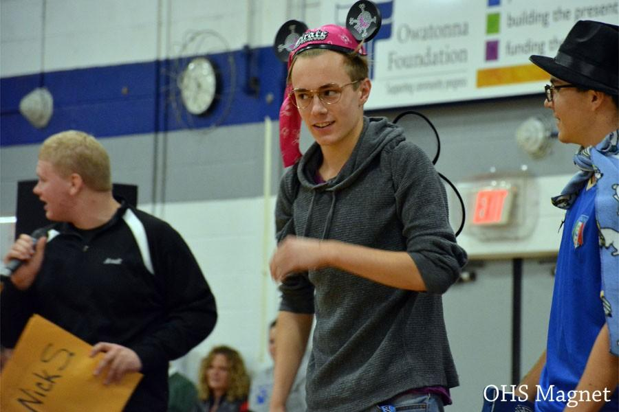 Junior Brice Lauwers performing a skit during the pepfest