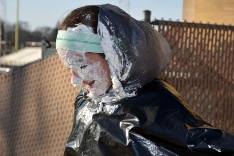 Ms. Oien first hour Enriched Precalc's Ashley Intress got pied in the face after her class raised $282.37