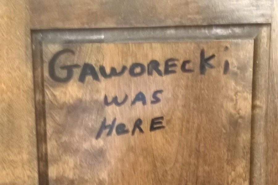 Mrs. Erin Halverson found this after she moved into Mr. Gaworeckis former classroom
