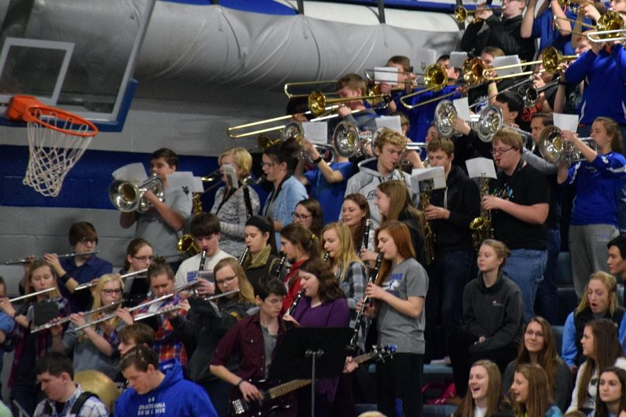 Owatonna Pep Band performing during the Snow Week Pepfest