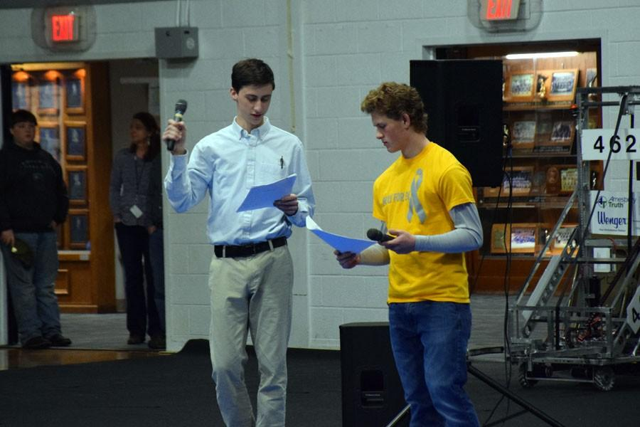 Sophomores Nick Hagen and Jacob Dub running the Snow Week Pepfest