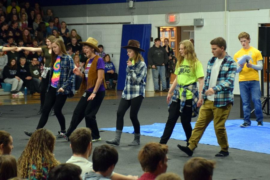 Owatonna Student Council dancing during the Pepfest for western day