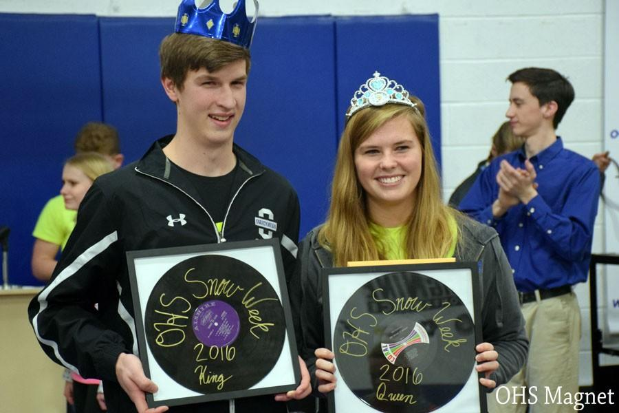 Snow week king Reed Tucker and queen Millie Wanous celebrating