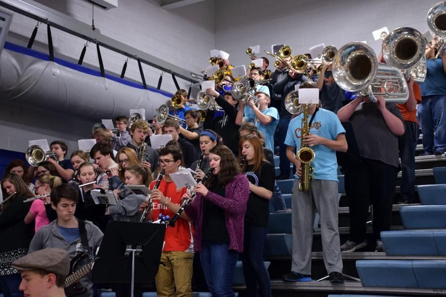 Owatonna Pep band playing during the pepfest