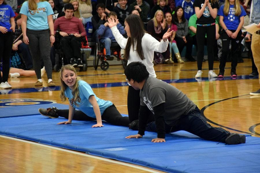 Junior students performing their gymnastics stunt during the pepfest
