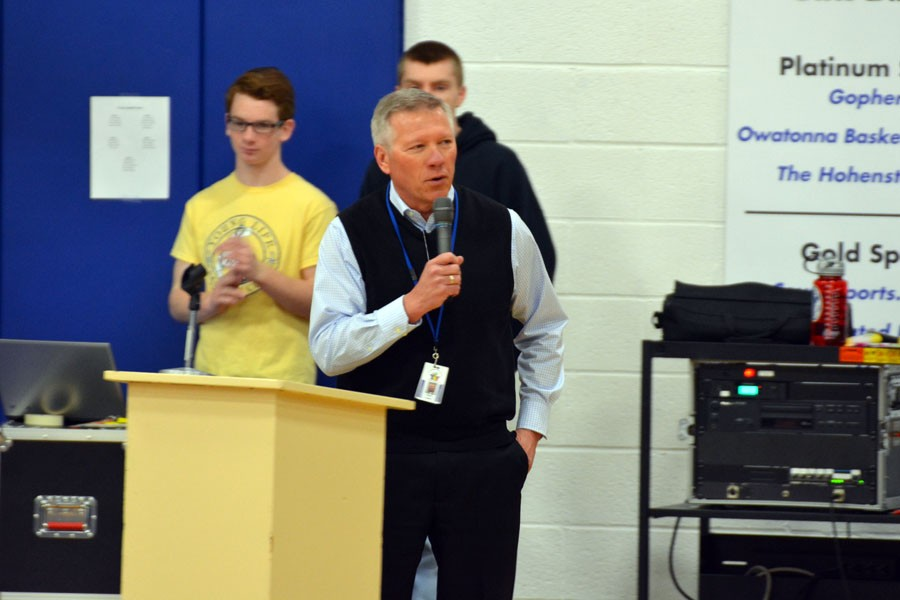 Superintendent Peter Grant talking about the gymnastics team
