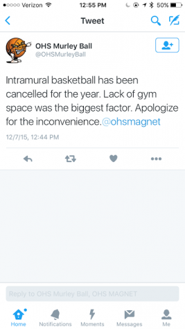 Tweet stating that Intramural Basketball is cancelled