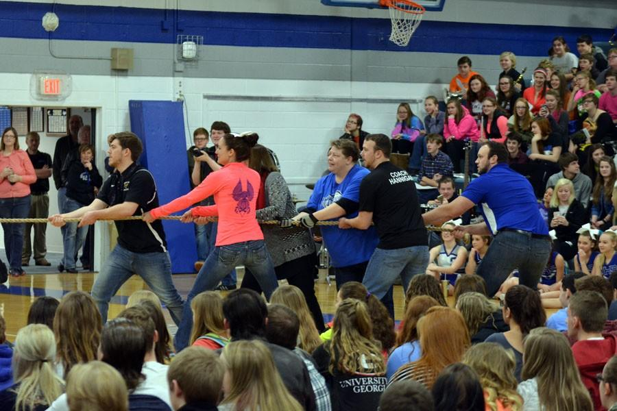 The staff tug of war participants