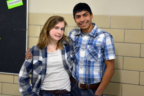 Junior Bekah Bendorf and Carlos Beascochea wearing western style clothing for western day