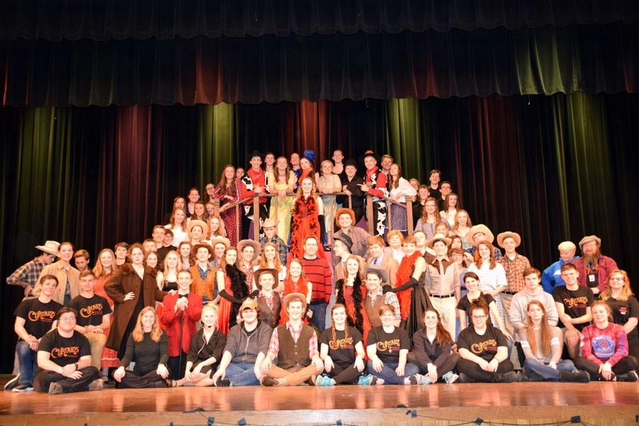 The cast, crew, and pit of Curtains
