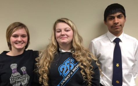 Small animal state team consisting of sophomore Katla Michaelson, senior Mariah Kane, and sophomore Carlos Beascochea, not pictured is eighth grader Lanie Reick