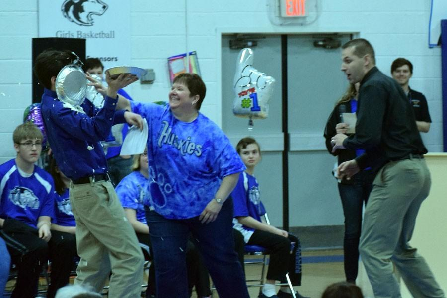 Nick Hagen getting pied by Ms. Lage and Mr. Swanson