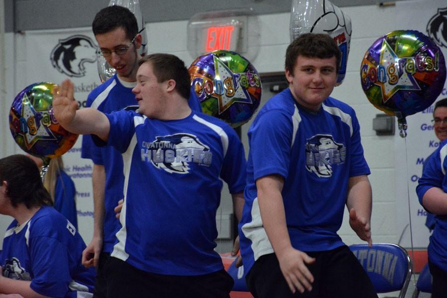 Alex Burns, Sam Mullenbach and Zach Sencer dancing