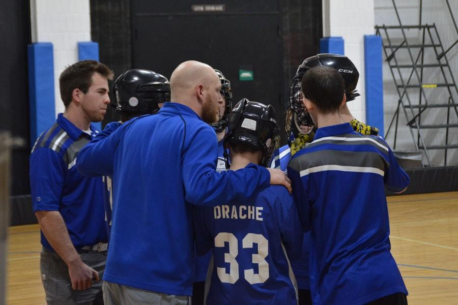 The team huddle before the third period