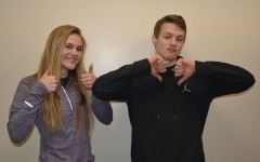 Seniors Gabi Zeman and Nick Raichle demonstrate their opinions.