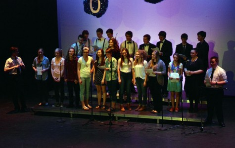 All contestants and MC senior Grace Pyatt singing the introduction song to the talent show