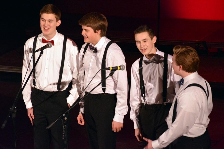 6 1/2 Men Seniors Luke Holzerland, Tyler Kain, Ryan Huxford and Luke Berkley singing