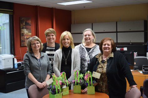 office workers ms. Pat Wall, Ms. Shannon DeWitz, Ms. Cheryl Summer, Ms. Barb Bergwall, and Ms. Jan Thurber