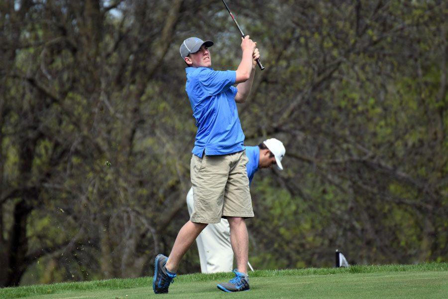 Sophomore Spencer Steckelberg hitting the ball