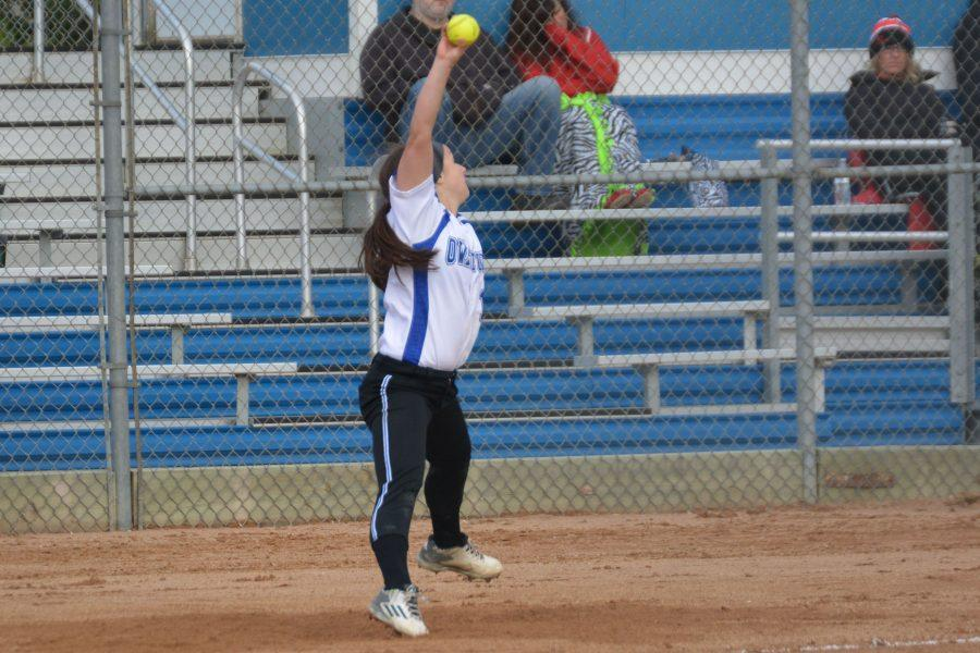 Sophomore Tiana Blazek pitches during Tuesday's game