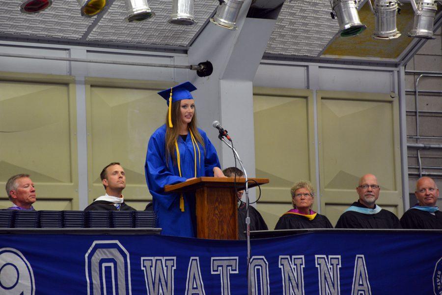 Senior Cheyenne Krampitz performing her speech during the commencement ceremony