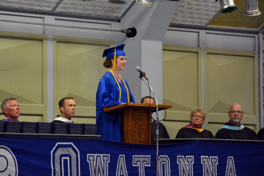 Senior Ava Stockwell performing her speech during the commencement ceremony