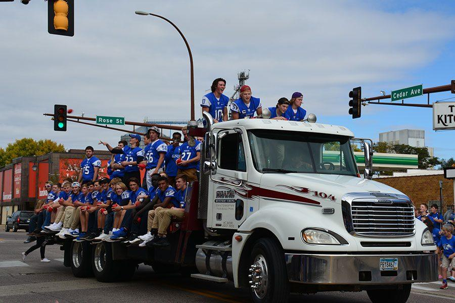 Owatonna Football trucking down the route