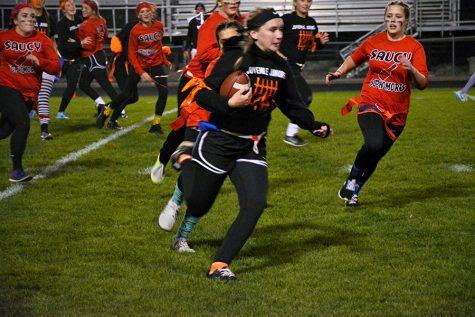 Junior Kenzie Karsten running for a touchdown