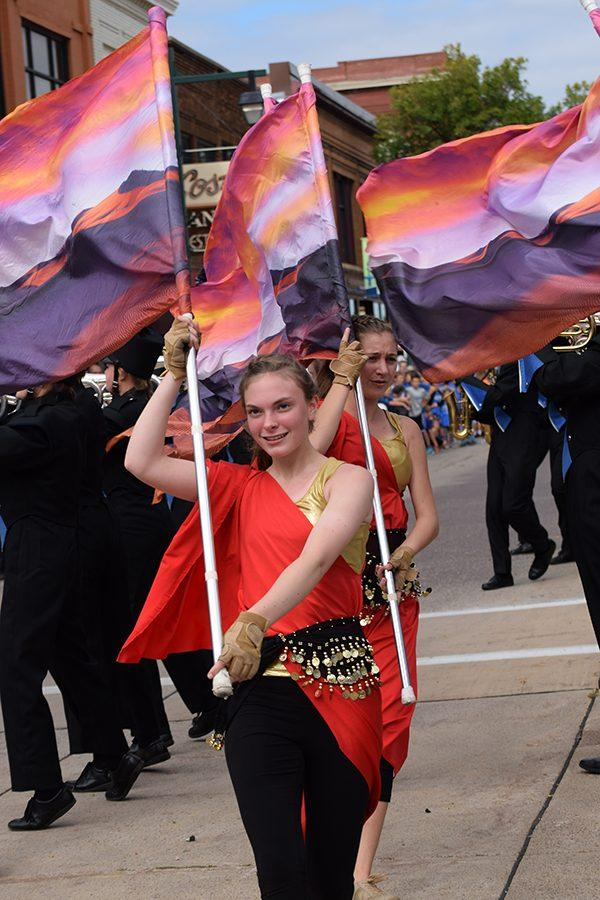Color guard shows their colors and talent to the downtown crowd