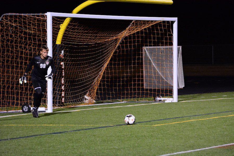 Senior Aidan Buryska taking a goal kick