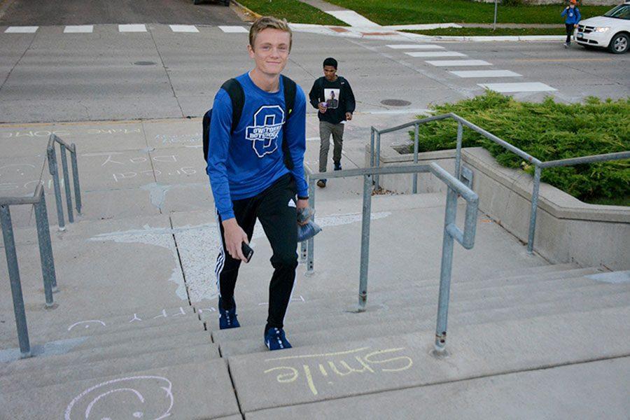 Sophomore Zach Barrett walking up the steps like a champ!