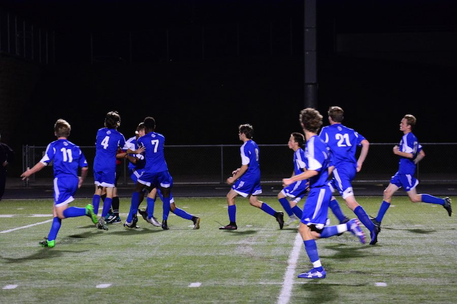 The boys celebrating after the first goal
