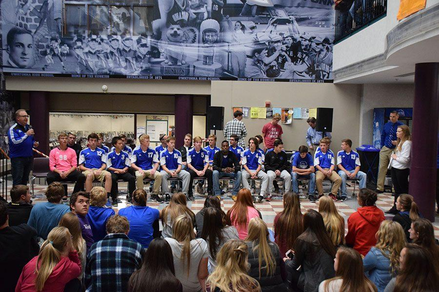 Coach Waypa addresses the crowd during the State Send Off.
