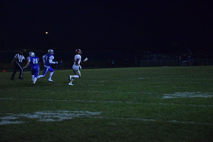 Senior Jaden Dowhaniuk chases down a Northfield player.