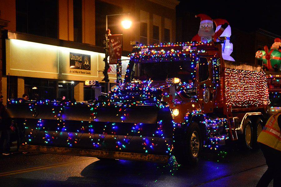Snowplow decorated for parade