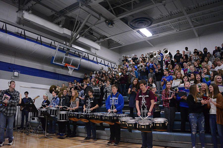 The OHS Pepband playing the first indoor pepfest of the year