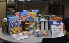 Food donations in the career center. Students can still bring in donations before winter break