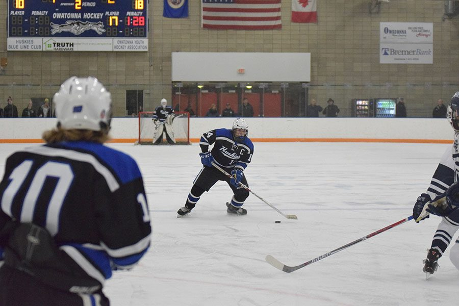 Captain Mitch Wiese looks for a shot in the offensive zone
