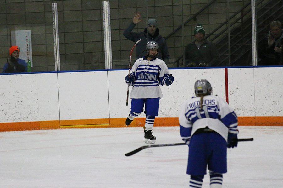 Sophomore Maylynn Prokopec celebrates after a goal