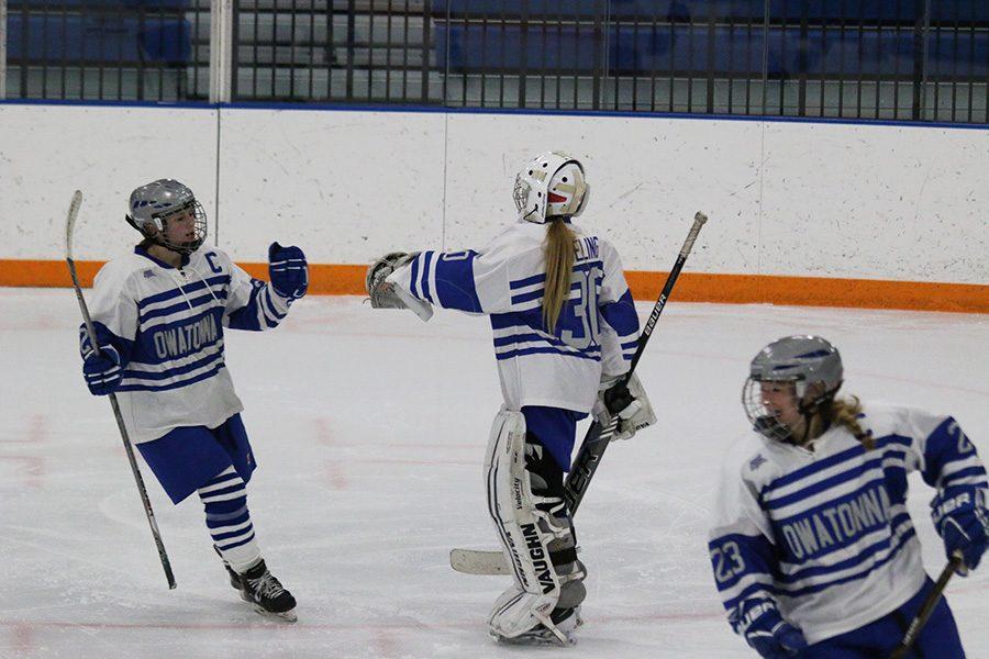 Girls celebrating a goal