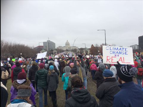 Photo taken while marching with the capitol building in view
