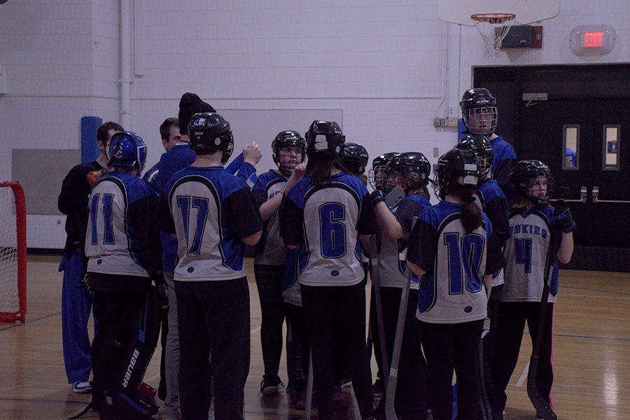 Owatonna Adaptive Floor Hockey team meeting before the game