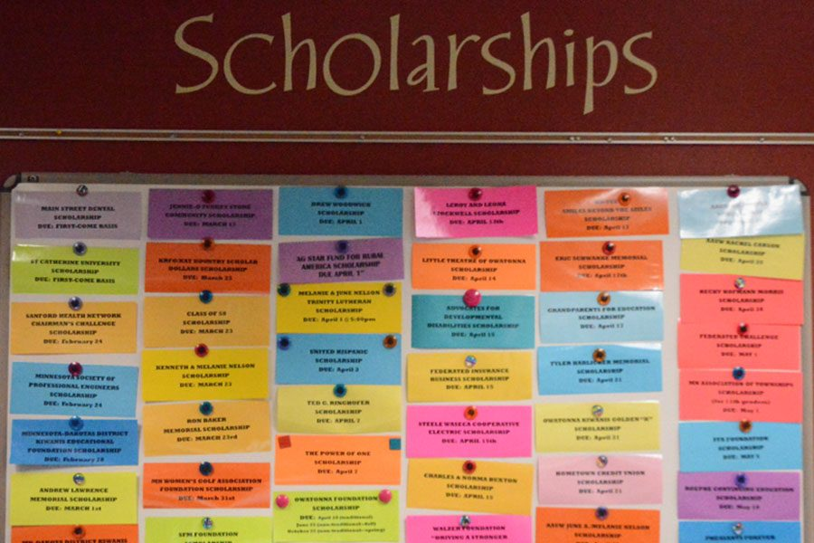 Active scholarships posted on the board in the career center