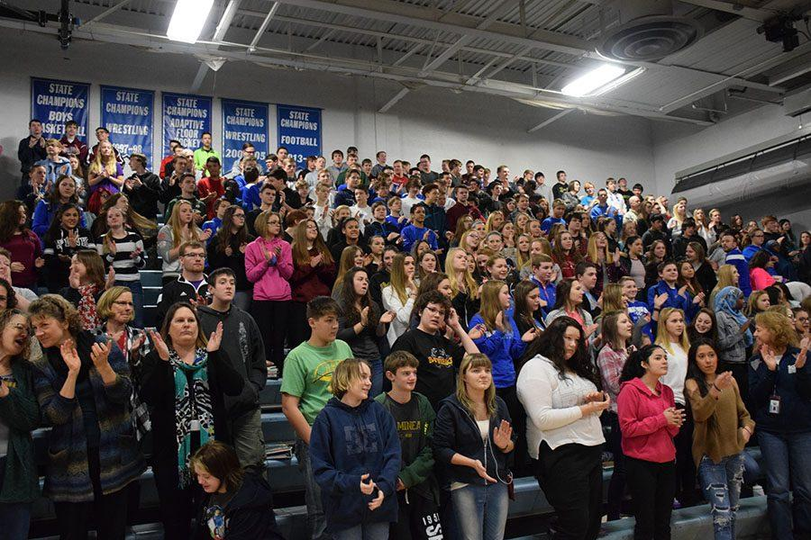 The freshmen get excited for the pep fest
