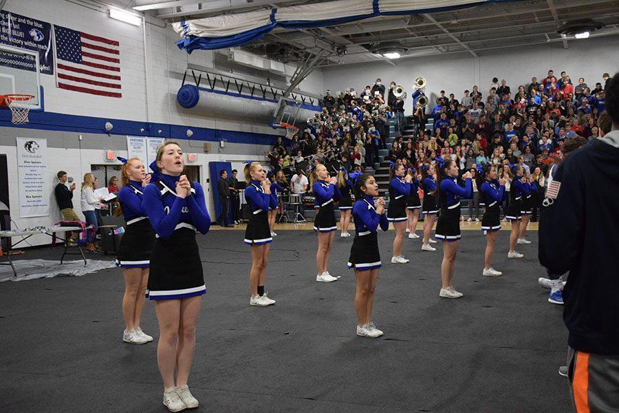 Cheerleaders show school spirit
