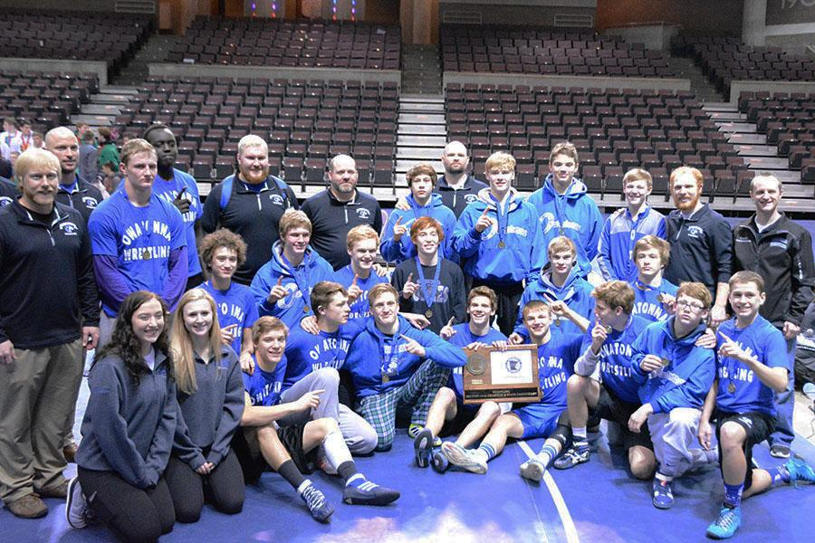 The Owatonna huskies after receiving the first place award of section one AAA