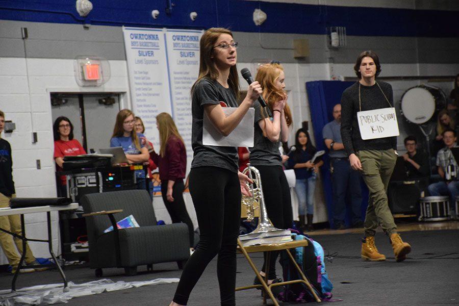 Bernadette Donlon, Annabelle Paquin and Ian Crum perform Bernadettes skit